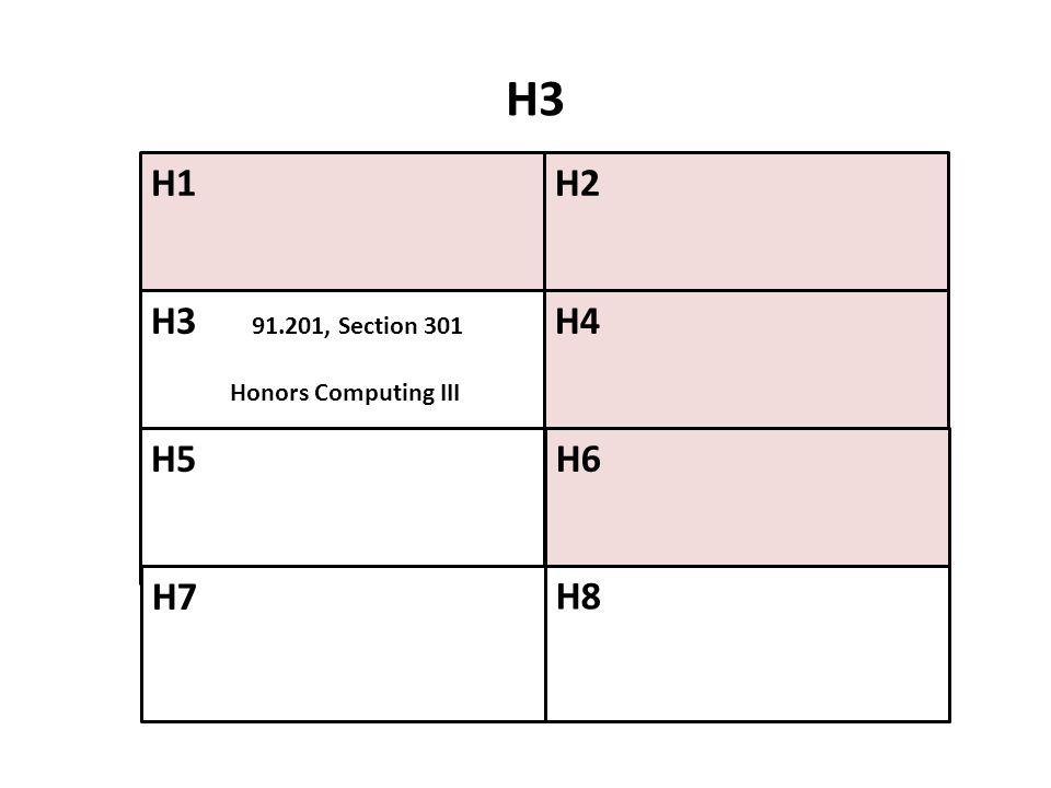 H3 H1 H2 H3 91.201, Section 301 Honors Computing III H4 H5 H6 H7 H8