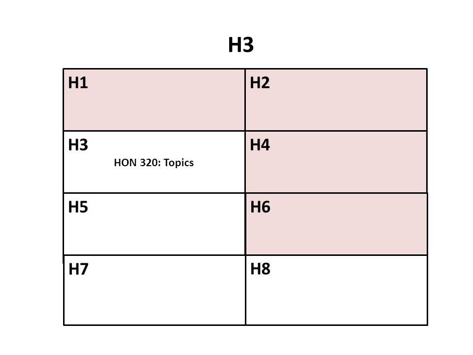 H3 H1 H2 H3 HON 320: Topics H4 H5 H6 H7 H8