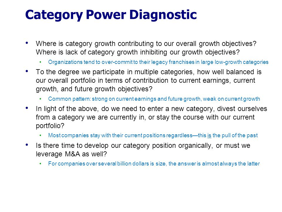 Category Power Diagnostic