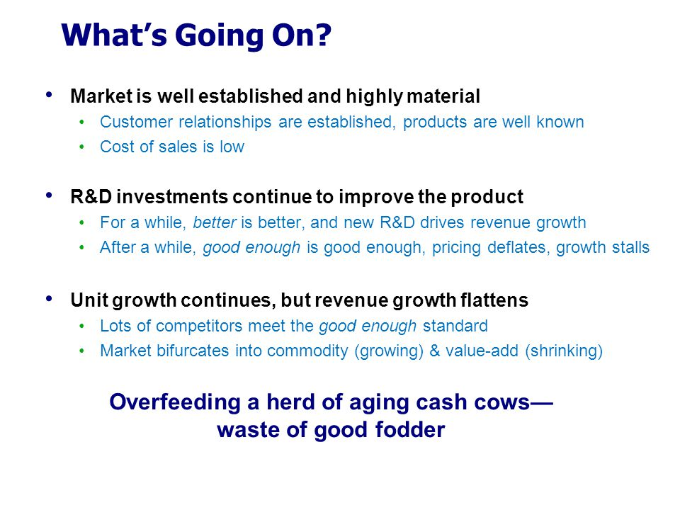 Overfeeding a herd of aging cash cows—