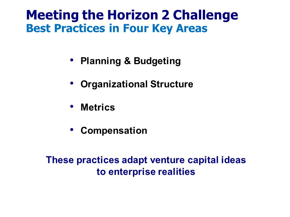 Meeting the Horizon 2 Challenge Best Practices in Four Key Areas