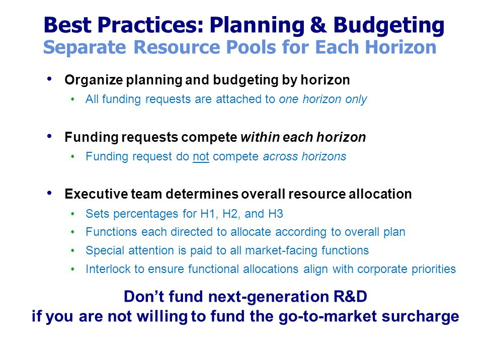 Best Practices: Planning & Budgeting Separate Resource Pools for Each Horizon