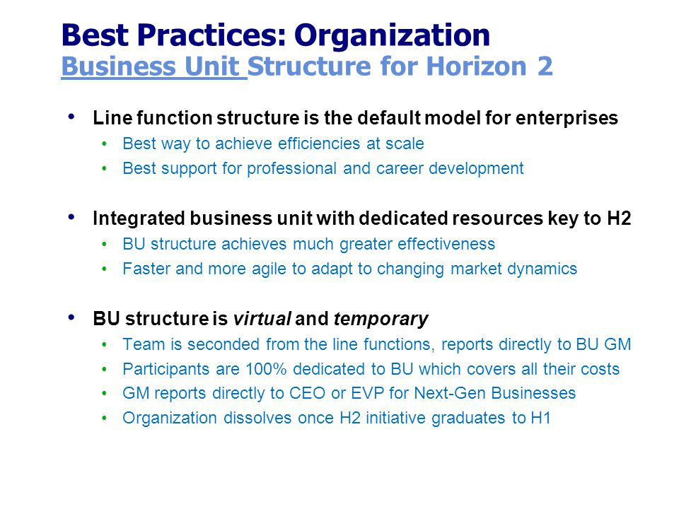 Best Practices: Organization Business Unit Structure for Horizon 2