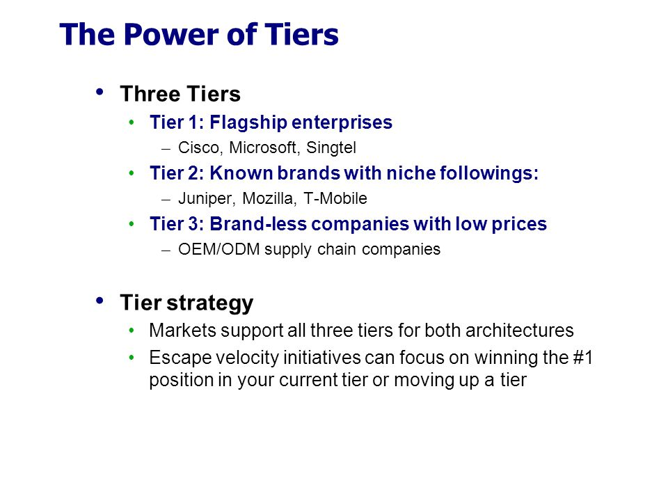 The Power of Tiers Three Tiers Tier strategy