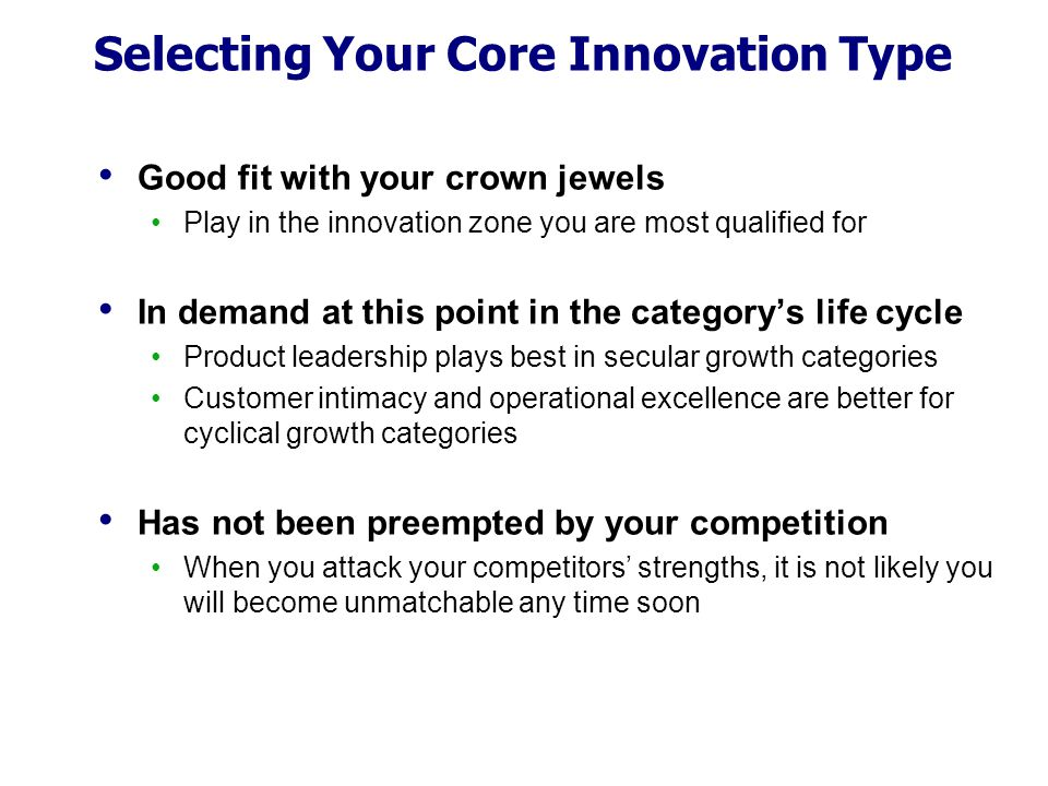 Selecting Your Core Innovation Type