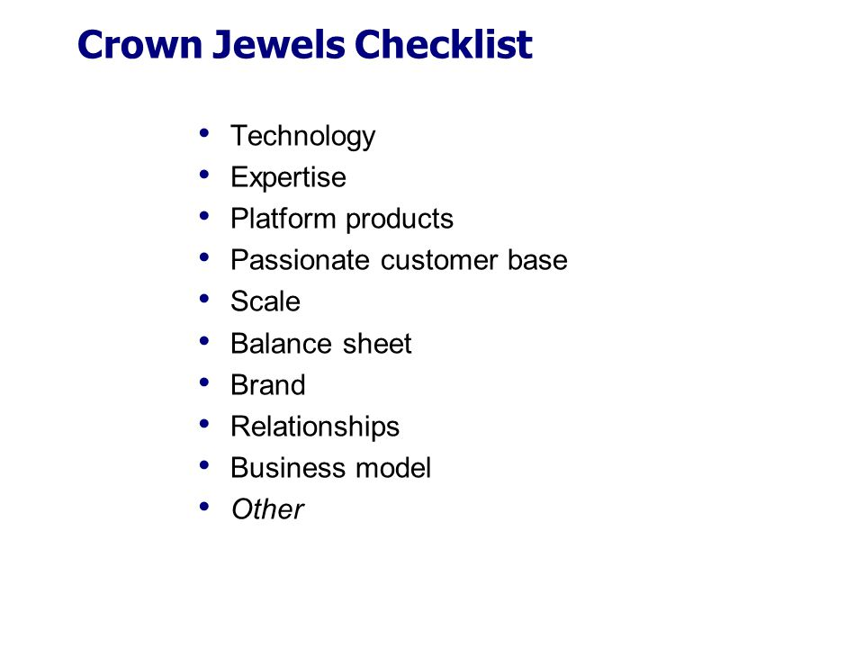 Crown Jewels Checklist
