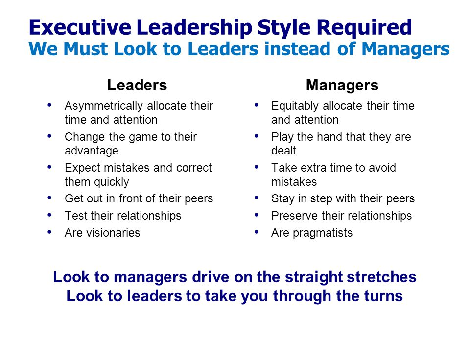 Executive Leadership Style Required We Must Look to Leaders instead of Managers