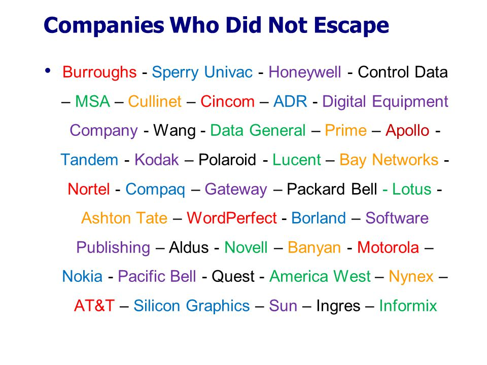 Companies Who Did Not Escape