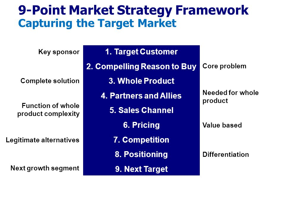 9-Point Market Strategy Framework Capturing the Target Market