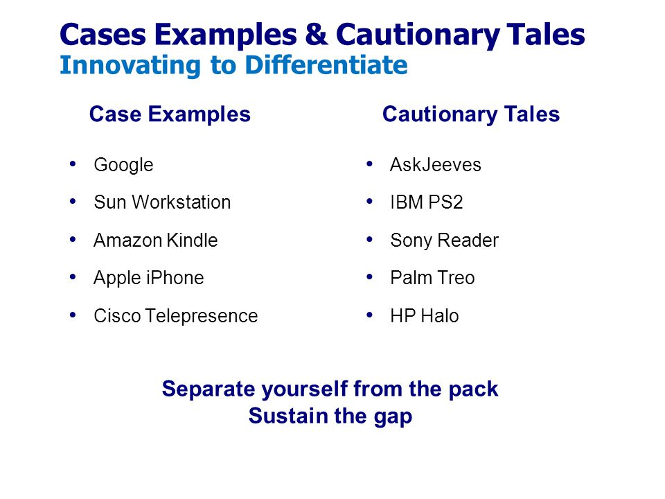 Cases Examples & Cautionary Tales Innovating to Differentiate