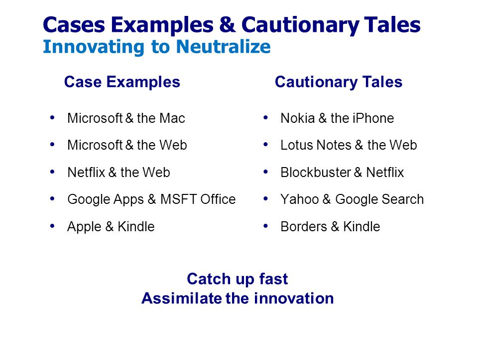Cases Examples & Cautionary Tales Innovating to Neutralize