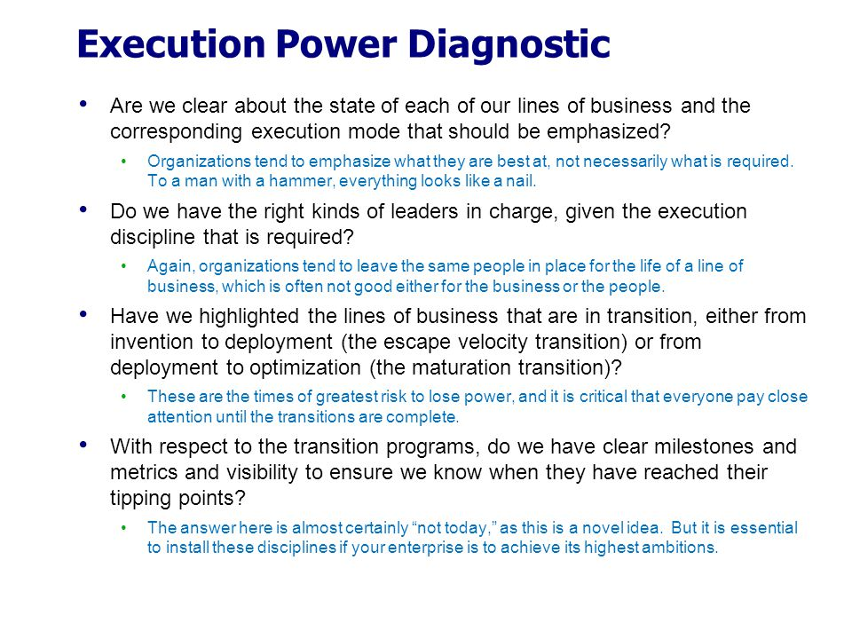 Execution Power Diagnostic