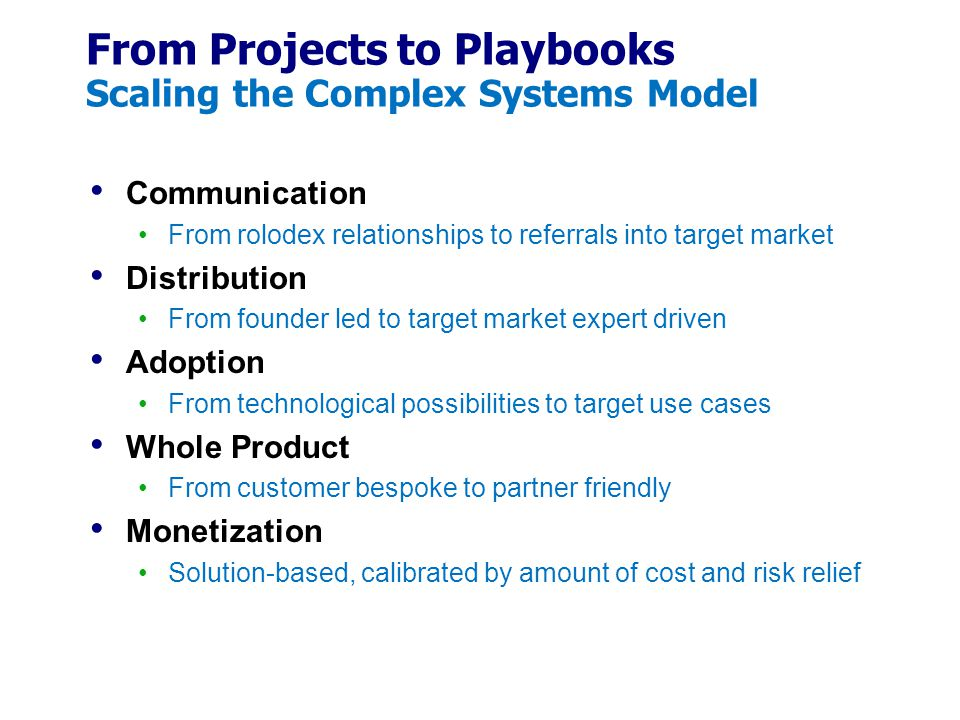 From Projects to Playbooks Scaling the Complex Systems Model