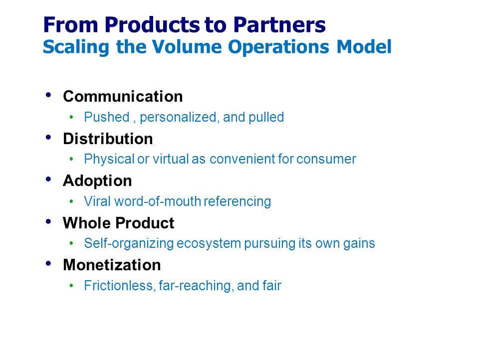 From Products to Partners Scaling the Volume Operations Model
