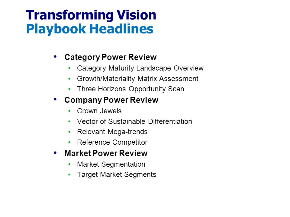 Transforming Vision Playbook Headlines