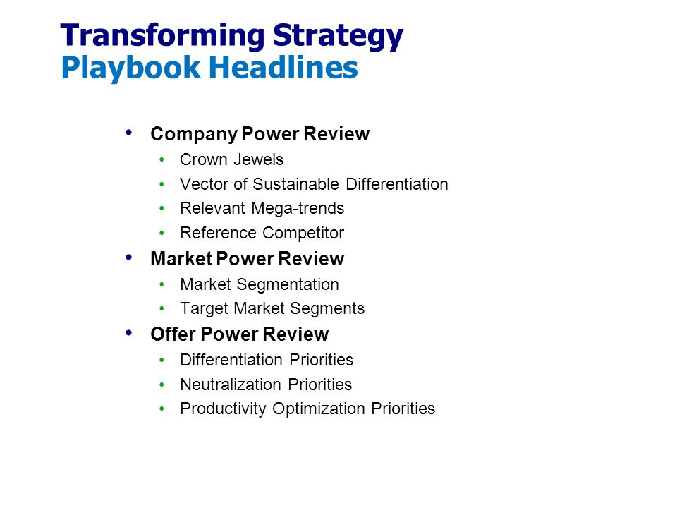 Transforming Strategy Playbook Headlines
