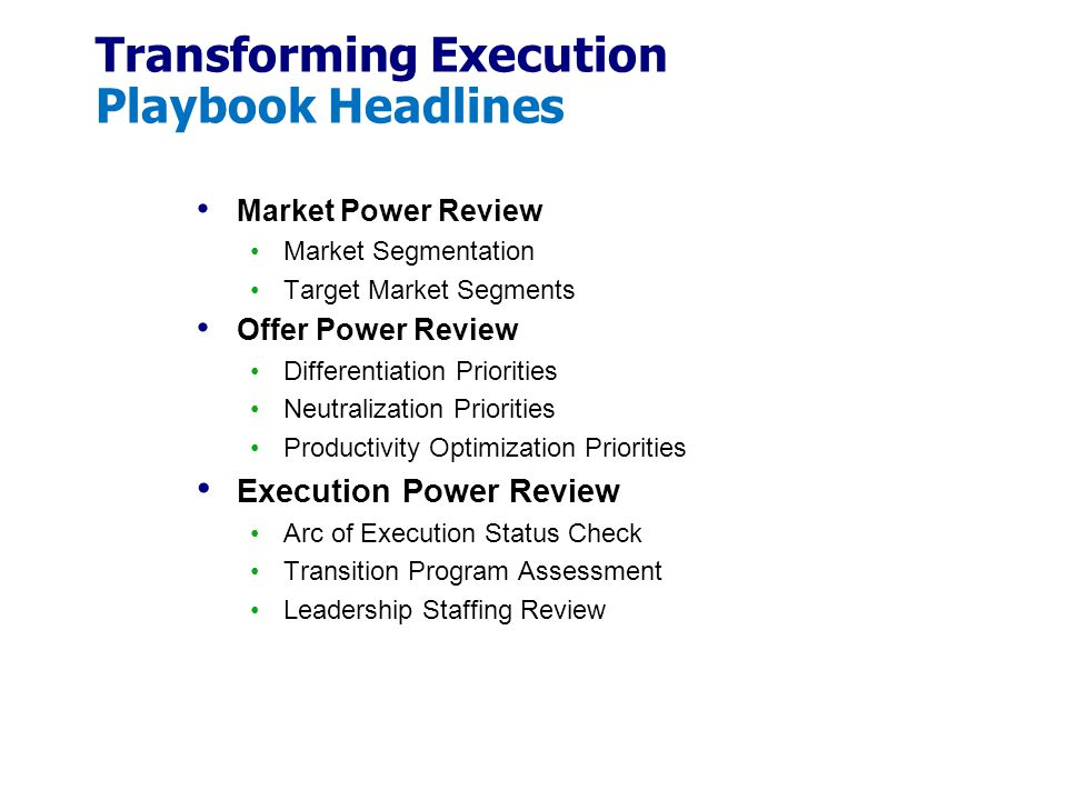 Transforming Execution Playbook Headlines