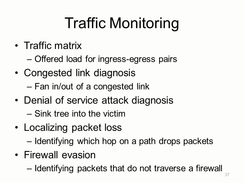 Traffic Monitoring Traffic matrix Congested link diagnosis