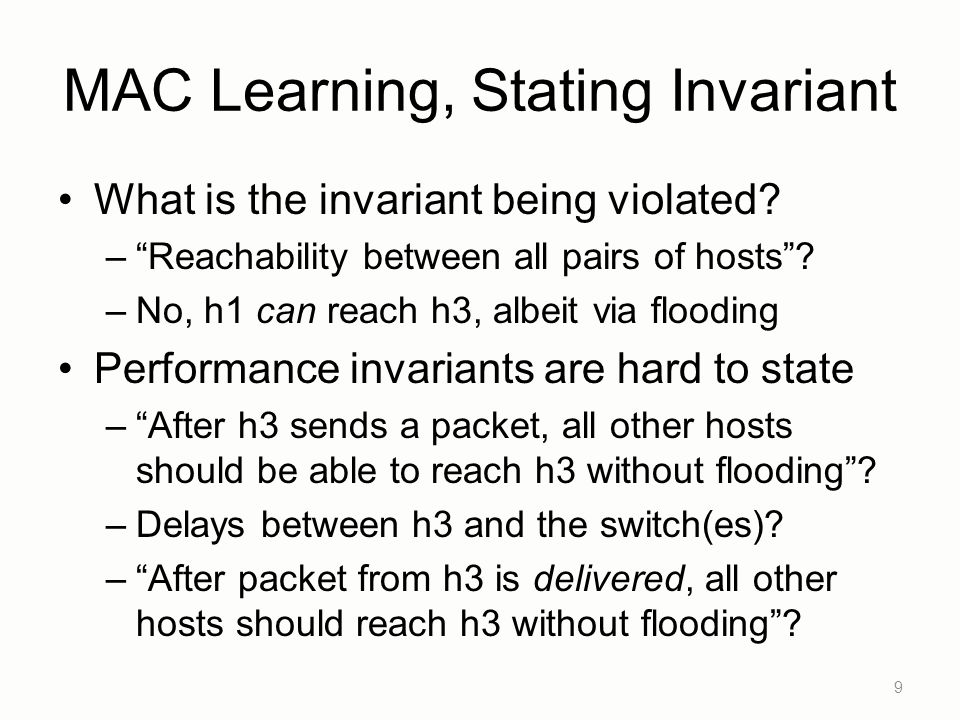 MAC Learning, Stating Invariant