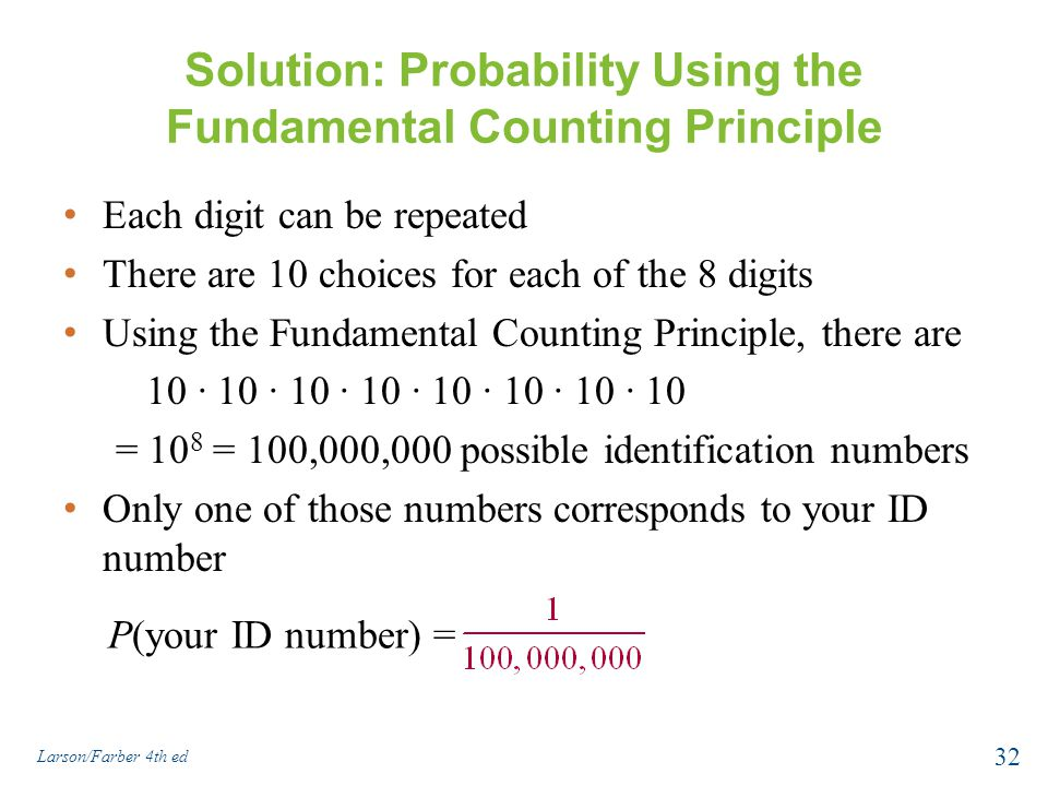 Solution: Probability Using the Fundamental Counting Principle
