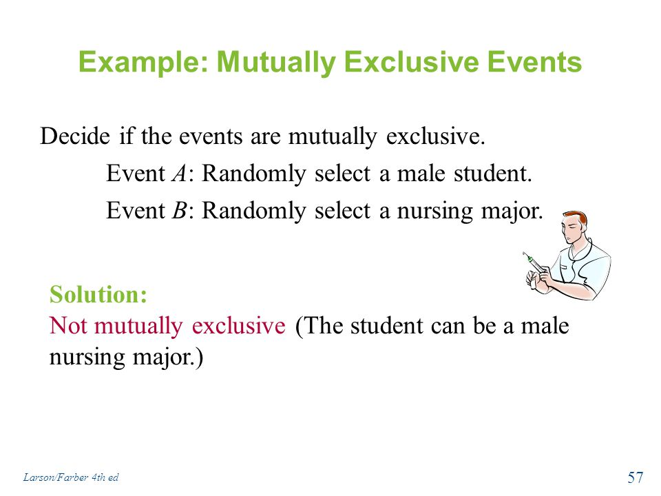 Example: Mutually Exclusive Events