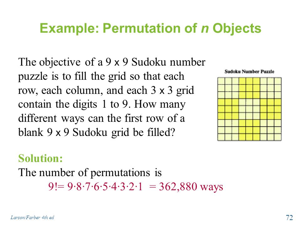 Example: Permutation of n Objects
