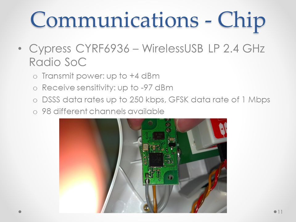Communications - Chip Cypress CYRF6936 – WirelessUSB LP 2.4 GHz Radio SoC. Transmit power: up to +4 dBm.