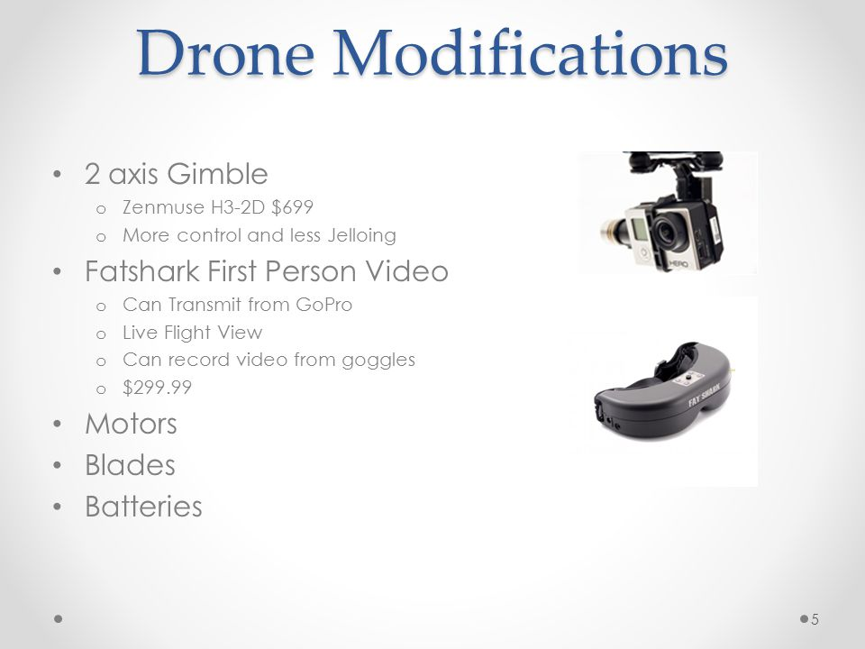 Drone Modifications 2 axis Gimble Fatshark First Person Video Motors