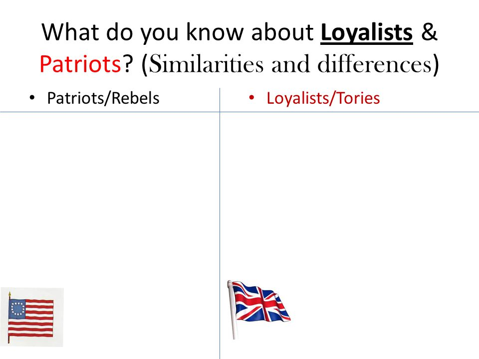 What do you know about Loyalists & Patriots