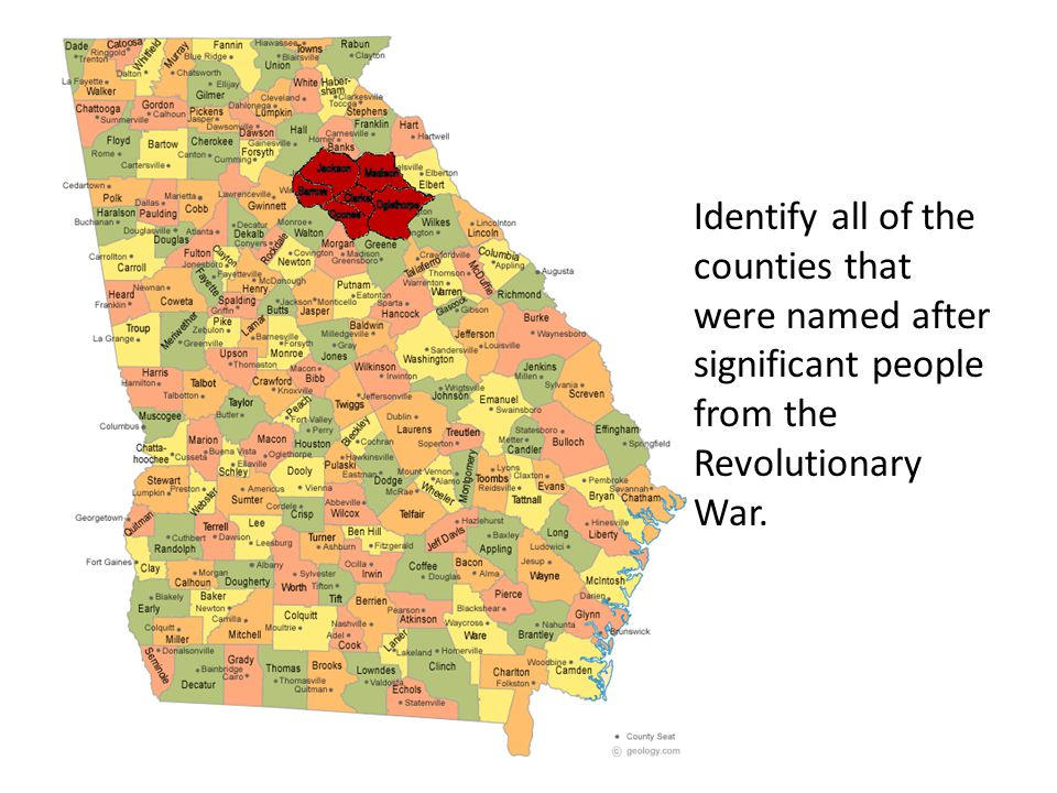 Identify all of the counties that were named after significant people from the Revolutionary War.