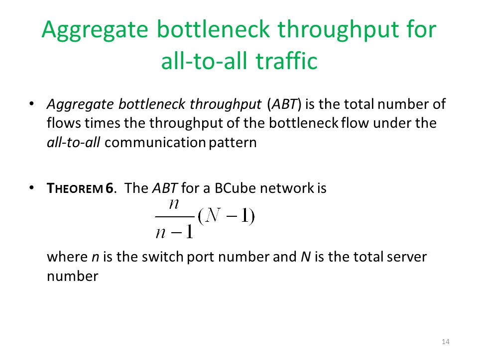 Aggregate bottleneck throughput for all-to-all traffic