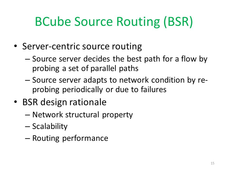 BCube Source Routing (BSR)