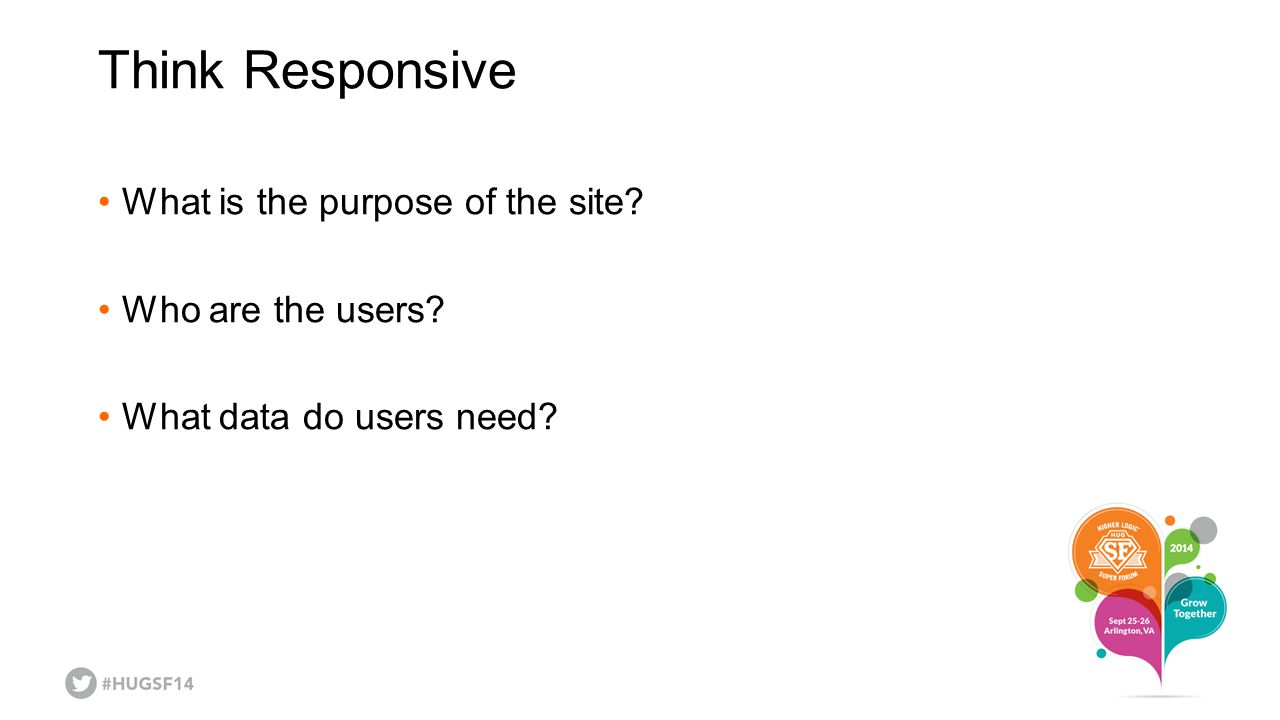 Think Responsive What is the purpose of the site Who are the users