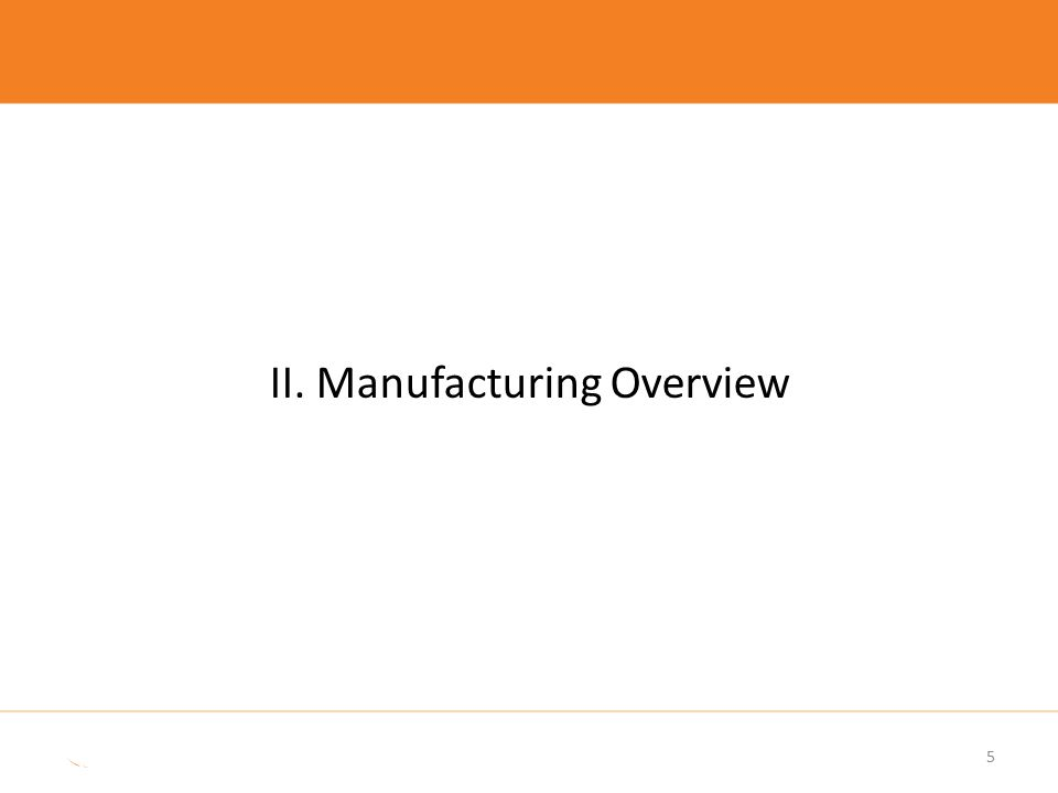 II. Manufacturing Overview