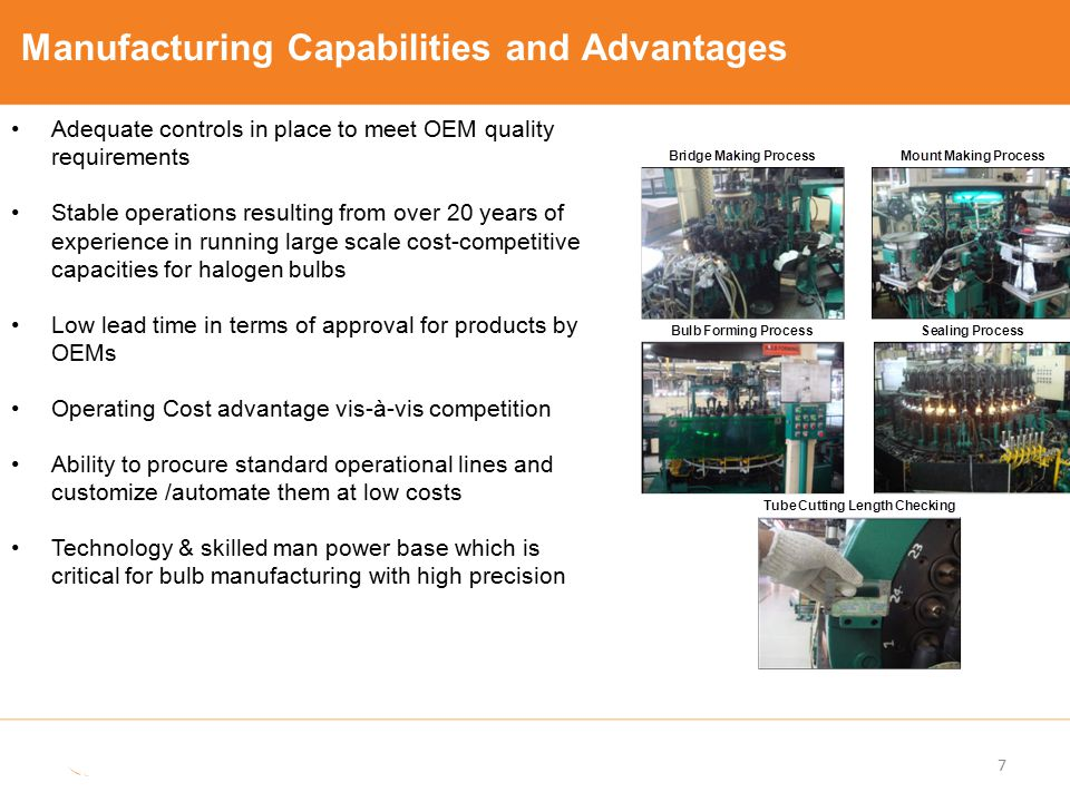 Manufacturing Capabilities and Advantages