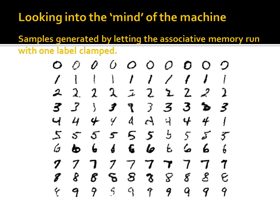 Looking into the 'mind' of the machine Samples generated by letting the associative memory run with one label clamped.