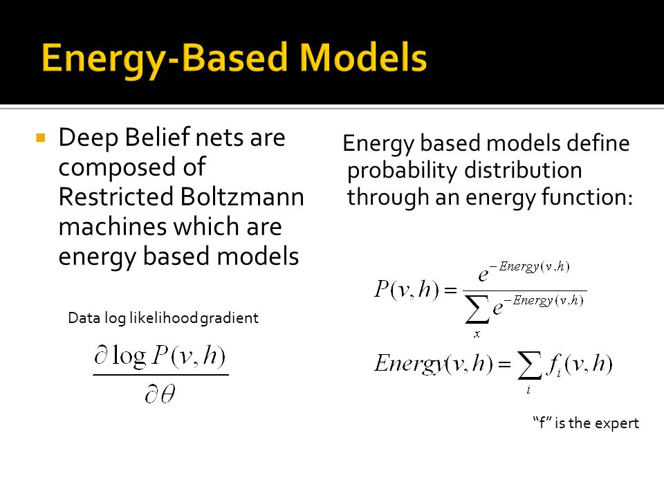 Energy-Based Models Deep Belief nets are composed of Restricted Boltzmann machines which are energy based models.