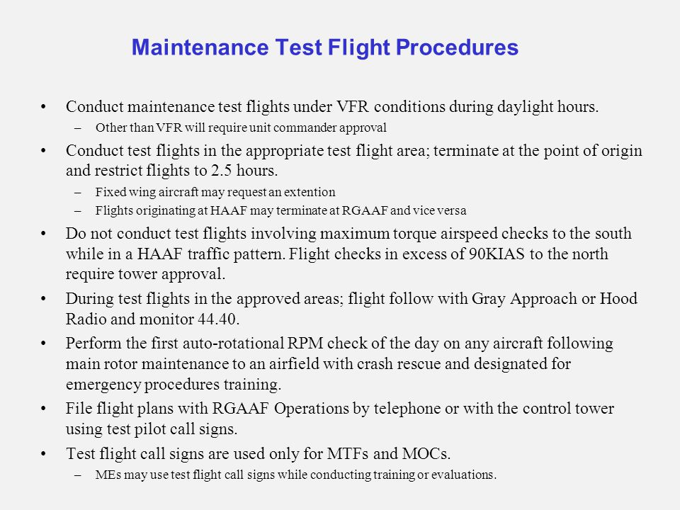 Maintenance Test Flight Procedures