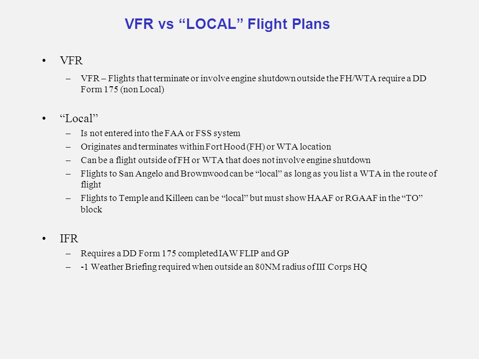 VFR vs LOCAL Flight Plans