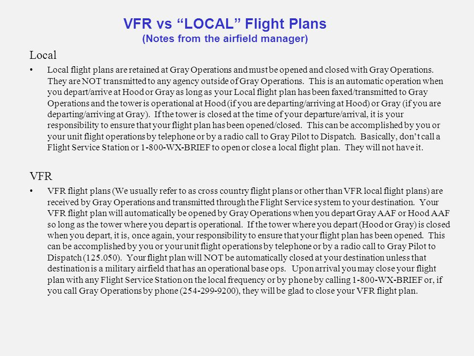 VFR vs LOCAL Flight Plans (Notes from the airfield manager)