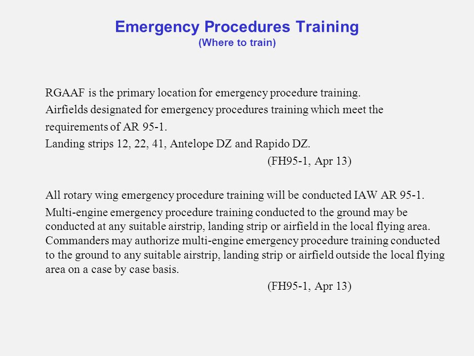 Emergency Procedures Training (Where to train)