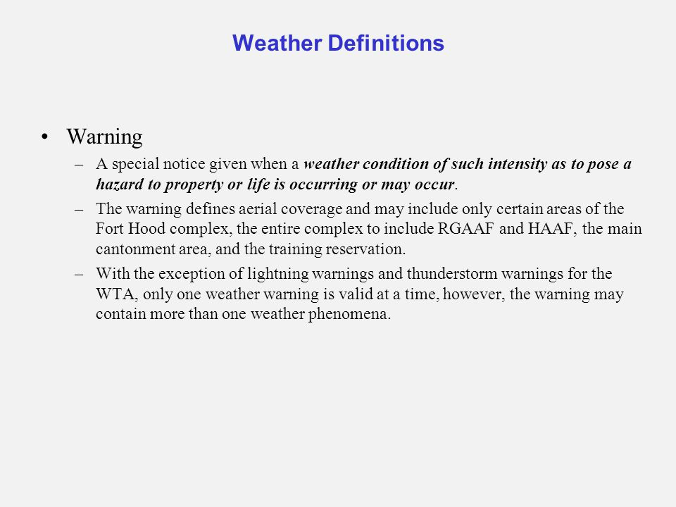 Weather Definitions Warning