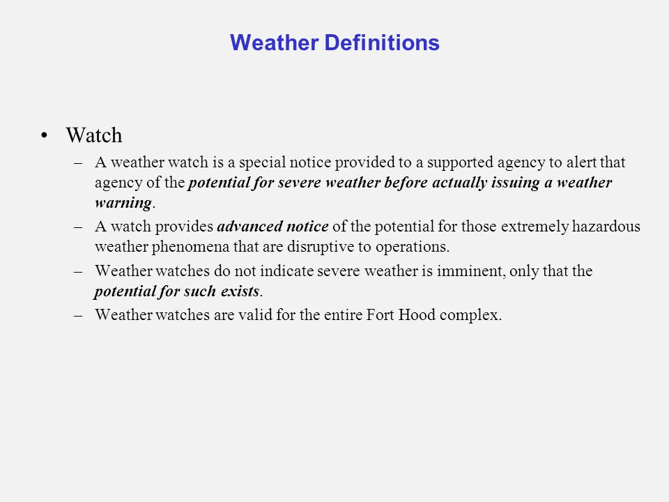 Weather Definitions Watch