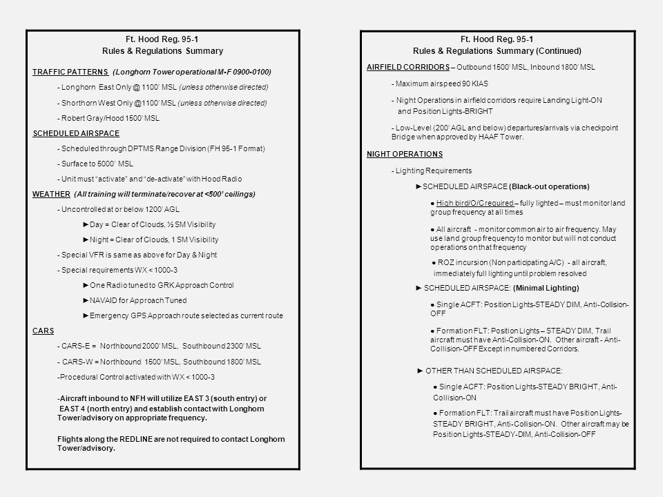 Rules & Regulations Summary Rules & Regulations Summary (Continued)