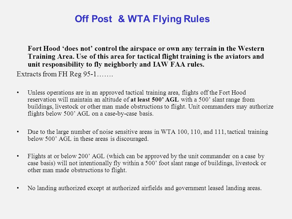 Off Post & WTA Flying Rules