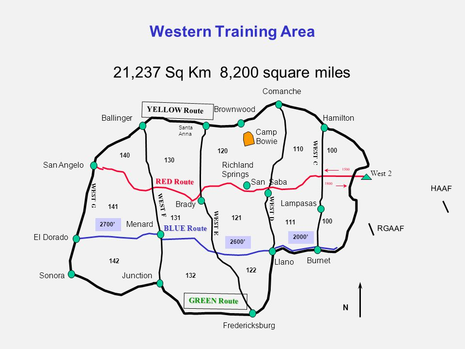 Western Training Area 21,237 Sq Km 8,200 square miles San Angelo