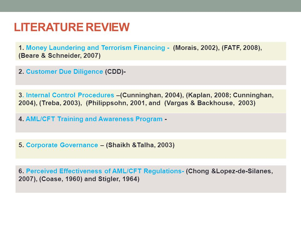 LITERATURE REVIEW 1. Money Laundering and Terrorism Financing - (Morais, 2002), (FATF, 2008), (Beare & Schneider, 2007)