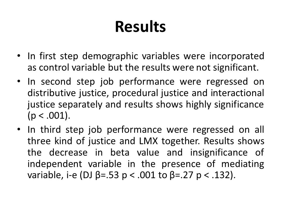 Results In first step demographic variables were incorporated as control variable but the results were not significant.