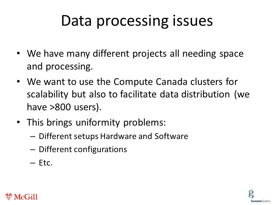 Data processing issues