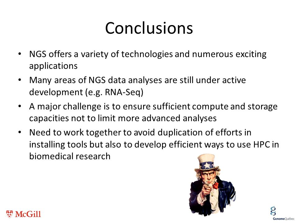 Conclusions NGS offers a variety of technologies and numerous exciting applications.